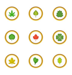 tree leaves icons set cartoon style vector image