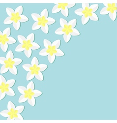 Tropical flower icon set in the corner Plumeria vector image