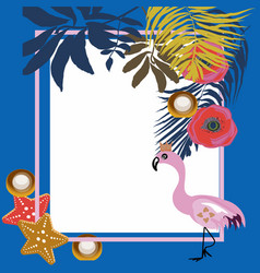 tropical flowers and flamingo summer banner vector image