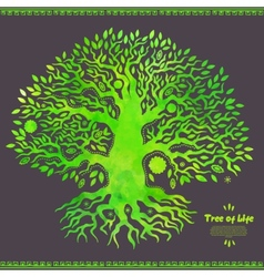 Unique watercolor ethnic tree of life vector image