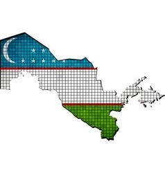 Uzbekistan map with flag inside vector