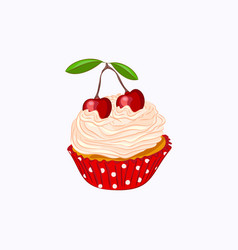 Vanilla cupcake with whipped cream and cherry vector