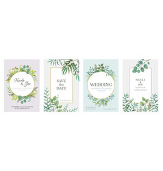 wedding greenery posters floral green invitation vector image