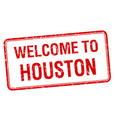 welcome to houston red grunge square stamp vector image