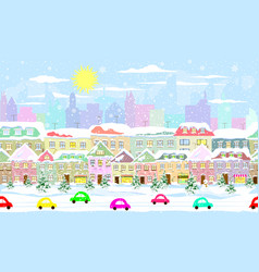 winter cityscape seamless vector image