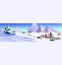 Winter mountain landscape with chalet or funicular vector
