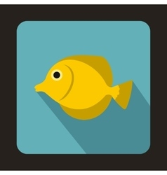 Yellow Tang fish Zebrasoma flavescens icon vector