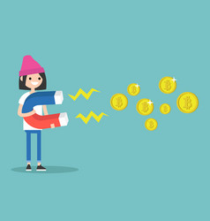 young female character mining bitcoins with a vector image