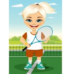 Young little girl with racket and ball vector image