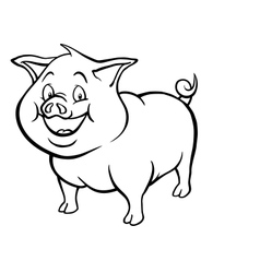 Black and white cartoon pig vector image vector image