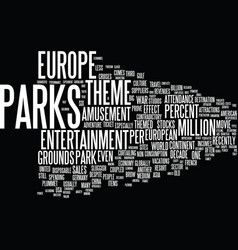 Europe s theme parks text background word cloud vector