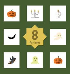 flat icon celebrate set of cranium spirit zombie vector image