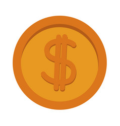 gold coin dollar money currency icon vector image vector image