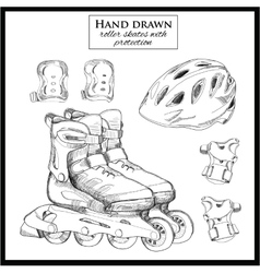 hand drawn elements of set Roller Skates with vector image