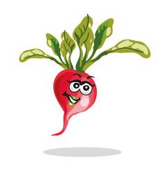 happy radish cartoon character vector image vector image