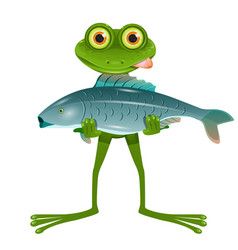 a goggle-eyed frog with a fish vector image vector image