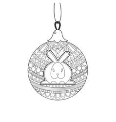 black line christmas ball with rabbit vector image