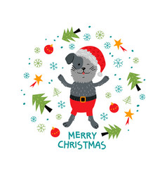 Christmas card unique hand drawn style cute funny vector