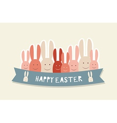 Happy easter cards with Easter bunnies vector image
