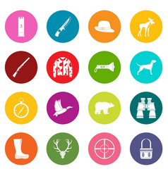 hunting icons many colors set vector image