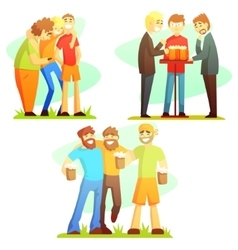 Man Friendship Three Colorful vector image vector image