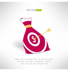 Money bag icon with aim and arrow Money earning vector image