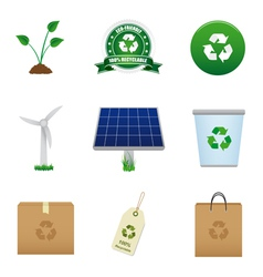 renewable energy and recycle icons vector image vector image