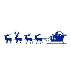 Santa Claus silhouette with reindeer vector image