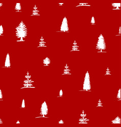 seamless pattern from sketch white trees vector image vector image