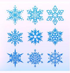 snowflake icons set christmas holiday symbol vector image