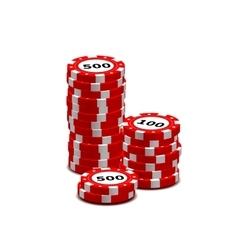Stack of red gambling chips on white vector image