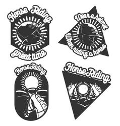 Vintage Horse riding emblems vector image