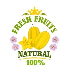 Carambola fruit isolated emblem with starfruit vector image