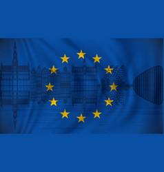 flag of european union with brussels skyline vector image