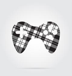 Grayscale tartan isolated icon - gamepad vector