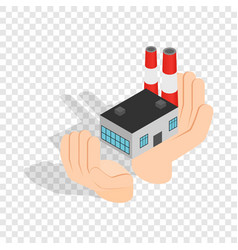 hands holding a chemical plant isometric icon vector image vector image