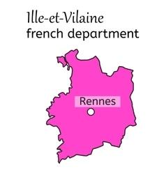 Ille-et-vilaine french department map vector