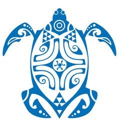 Maui turtle tattoo motif vector
