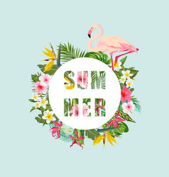 tropical flamingo bird and flowers background vector image