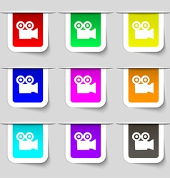 video camera icon sign Set of multicolored modern vector image