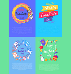 four pictures teachers day vector image vector image