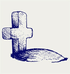 Grave with a cross vector image vector image