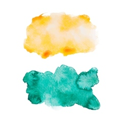 Green blue colorful abstract hand draw watercolour vector image