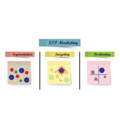 stp marketing diagram - process sticky notes vector image