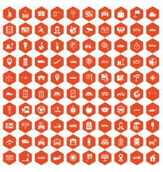 100 navigation icons hexagon orange vector