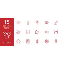15 studio icons vector image