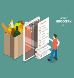 3d isometric concept mobile grocery list vector image