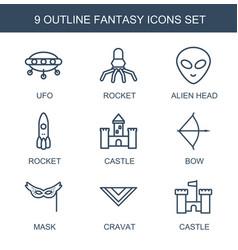 9 fantasy icons vector