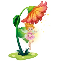 A fairy flying under the giant flower vector image