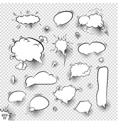 a set comic bubbles and elements with halftone vector image